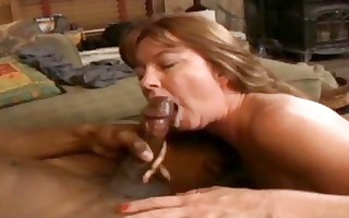 brunette hair milf with hot curves sucks and