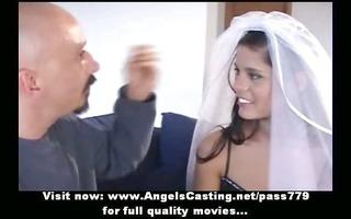 outstanding brunette bride does oral-job for big