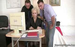 she is swallows two cocks for work