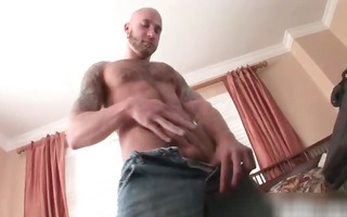 hot stripped homosexual lad jerks his schlong