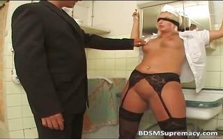fetish loving golden-haired maid is blindfolded
