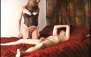 blonde hottie tortures her hard jock ally by