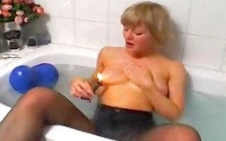 blond non-professional wife toying and