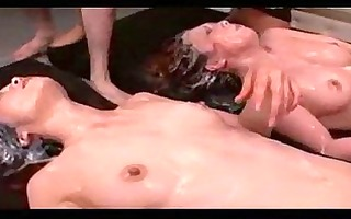 2 oriental girls in nylons stimulated with sex