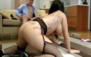 high heeled whore eats cum