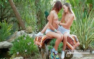 outdoor sensual lesbo scene with teenies