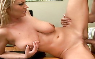 breasty blond boss fucking her driver on a table