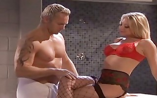 hot muscled hunk fucks hot blonde in fishnet