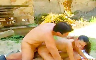 gaping outdoor anal gangbang