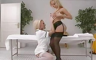 blond woman in dark nylons bonks in lesbo sex