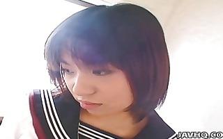 juvenile japanese schoolgirl gives her st blowjob