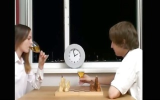 extreme slender beauty playing chess