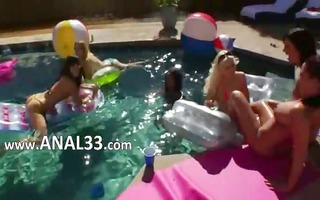 great group ass enjoyment by the pool