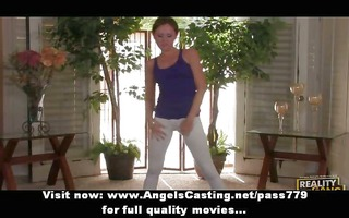 virginal redhead pliant teen playing with her