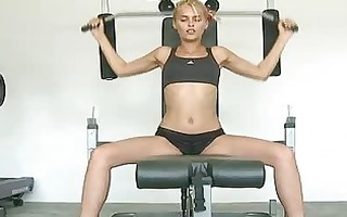 sports hawt blond angry at the gym