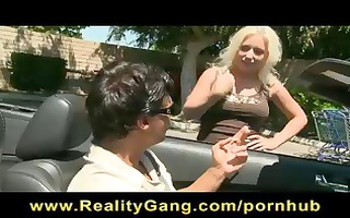 sexy blond milf at the market acquires a ride in