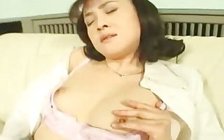 sexually excited asian wife masturbating in