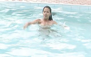 softcore masturbating joy with latinas at the pool