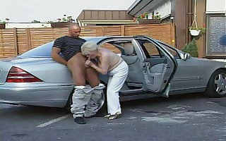 granny in nylons plays with two jocks
