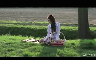 marvelous brunette woman teasing picnic
