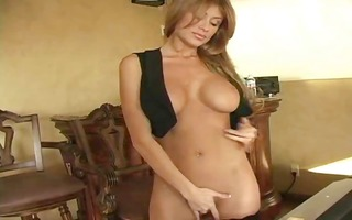 priceless looking big boobed blond takes care of