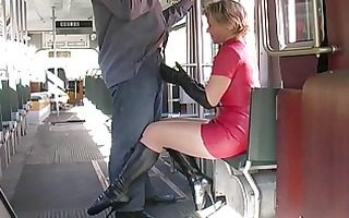 red latex petticoat ballet boots blows