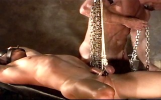 2 young muscle guys explore slavery cbt, testicle