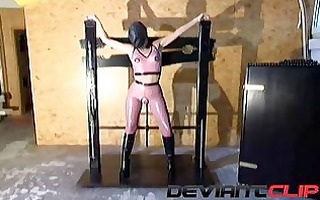 latex fetish masturbation with sextoy in torment