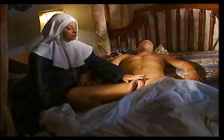 italian nun slips in and gets a little thankful