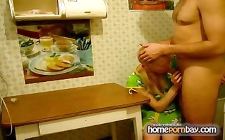 russian dilettante golden-haired wife munches his