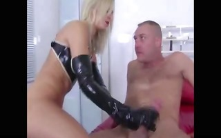mistress treats herself to her gimps cock