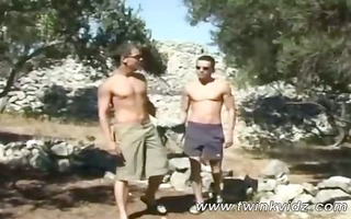 stylish topless hiker lads doggy fucking in the