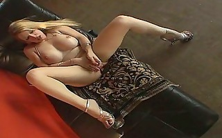 the excited lady-boy playgirl masturbates with a