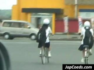 Sweet young Asian coed is accosted after a bike