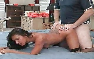 brunette milf in nylons acquires a twat tongue