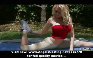 young blonde exercising and undressing and