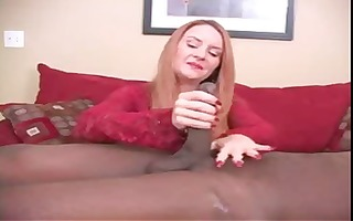 redhead is on the casting bed and gives this dark