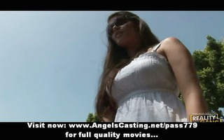 virginal brunette with lengthy hair does blowjob
