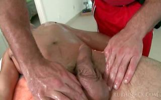 gay oral pleasure on massage table with dick