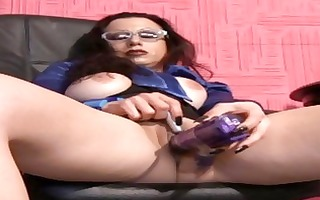mother i in glasses masturbates with sex tools