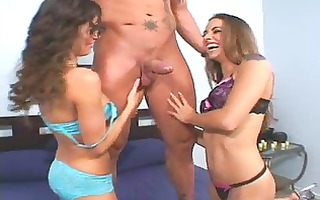 2 sexy tight chicks sharing julians giant dick