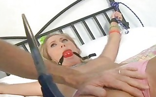 blonde does bdsm porn with red gag in throat
