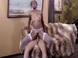 Hot ebony gets drilled and jacks him off in