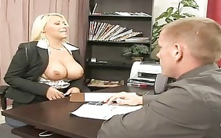 golden-haired boss with massive boobs fucking her