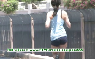 brianne awesome brunette hair woman works out and