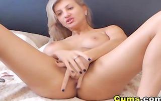 massive tits blond stroking her taut cum-hole