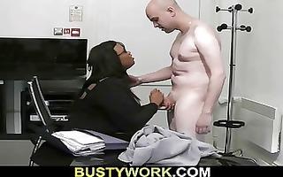 lovely darksome plumper pleases her recent boss