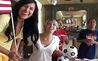 naughty girls turn cheering into group sex act
