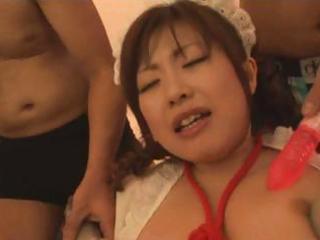 Sexy Oriental chick Rio Hamasaki gets gangbanged