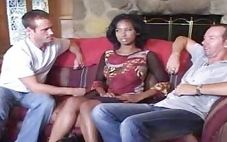 virginal afro bride in three-some does irrumation